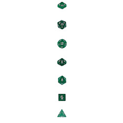 KP02893-GLITTER POLY DICE 7PC GREEN