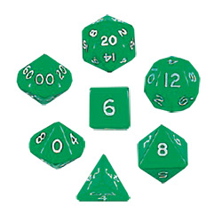 KP06535-JUMBO POLYH DICE 7PC GREEN