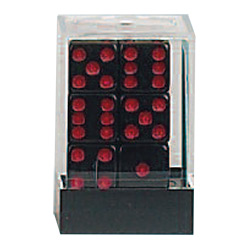 KP08624-OPAQUE D6 16MM 12PC BLACK/RED