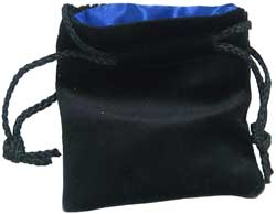 KP09912-DICE BAG VELVET BLACK/BLUE