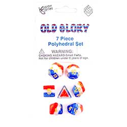 KP19413-LAYERED DICE 7PC OLD GLORY