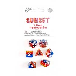 KP19416-LAYERED DICE 7PC SUNSET