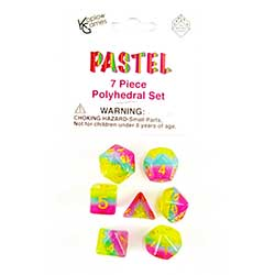 KP19419-LAYERED DICE 7PC PASTEL