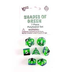 KP19421-LAYERED DICE 7PC SHADES/GREEN