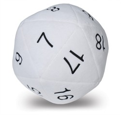 UPDIPJD20-JUMBO D20 PLUSH DICE WHITE