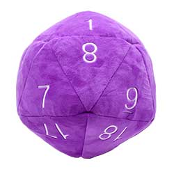 UPDIPJD20P-JUMBO D20 PLUSH DICE PURPLE